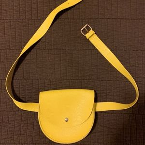Yellow Leather Fanny Pack